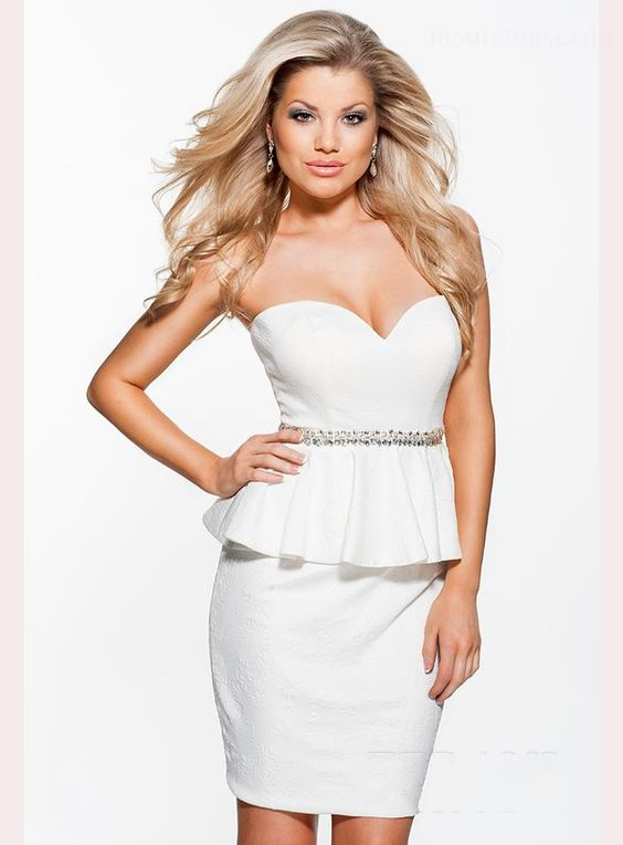 ihomecoming.com SUPPLIES Strapless Sweetheart Beaded Waistline Sheath Short Homecoming Dress Sexy