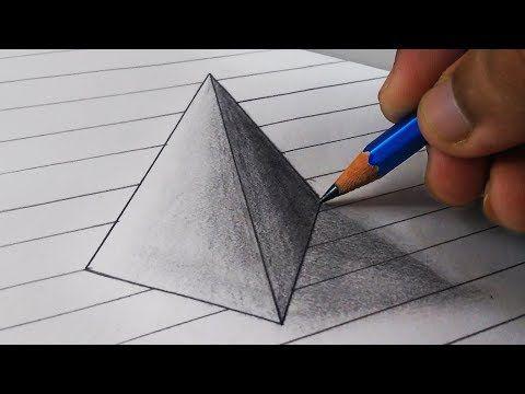 Tutorial Como Dibujar Triangulo 3d Ilusion En El Papel Paso A Paso Facil Para Ninos Youtube 3d Triangle Triangle Drawing Illusion Drawings