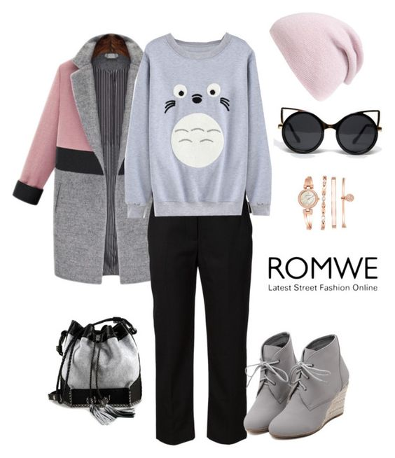 """""""http://www.romwe.com/Round-Neck-Cartoon-Print-Grey-Sweatshirt-p-138014-cat-673.html?"""" by giulia-sicilia ❤ liked on Polyvore featuring 3.1 Phillip Lim, ZooShoo, WithChic, Phase 3, Carianne Moore and Anne Klein"""