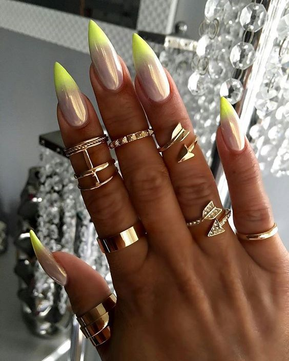 Pixie fairy dust with neon yellow ombré tips on stiletto nail art: