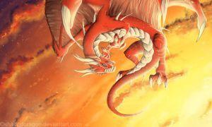 Dragón anaranjado dorado para la elevación de consciencia