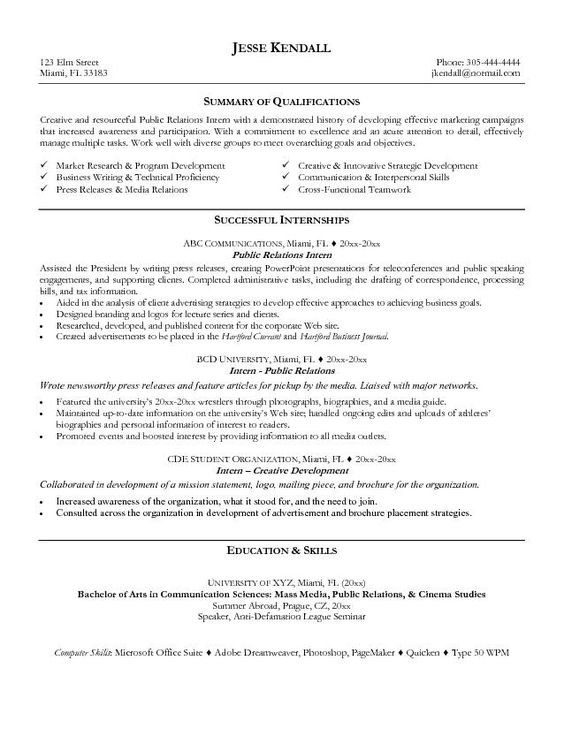 Public Relations Professional Resume Template Premium Resume - combined resume sample