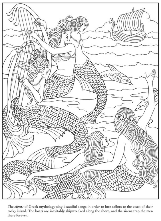 Mythical Mermaids Coloring Book, Dover Publications:
