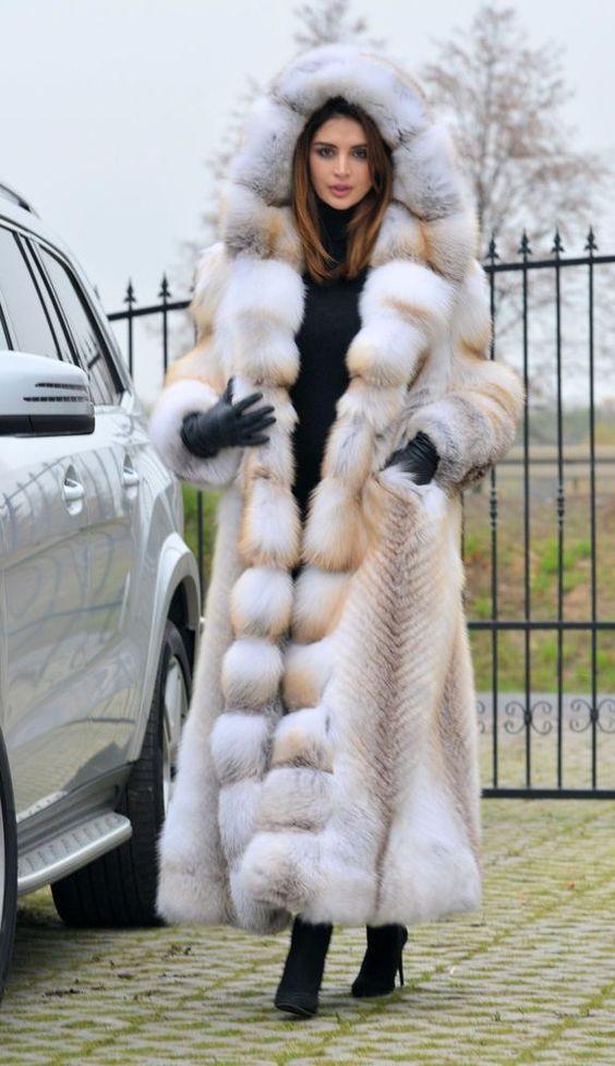 2016 GOLDEN ISLAND FOX LONG FUR COAT HOOD CLAS CHINCHILLA SABLE
