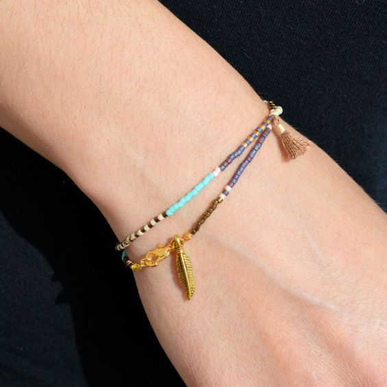 Multicolor Tassel Bracelets with Feather Turquoise by Kurafuchi