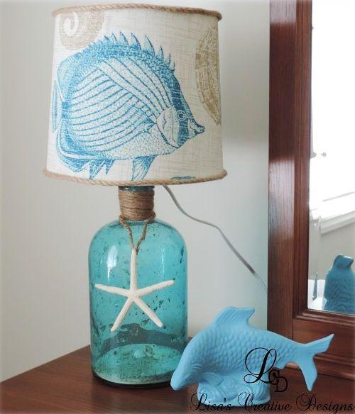 Diy Bottle Lamps With Lamp Kits Coastal Beach Nautical Bottles Diy Bottle Lamp Bottle Lamp Diy Lamp