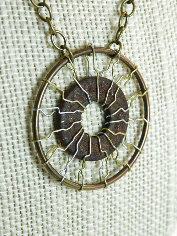 Upcycled Hardware Necklace Rusty Metal by WanderTheWasteland