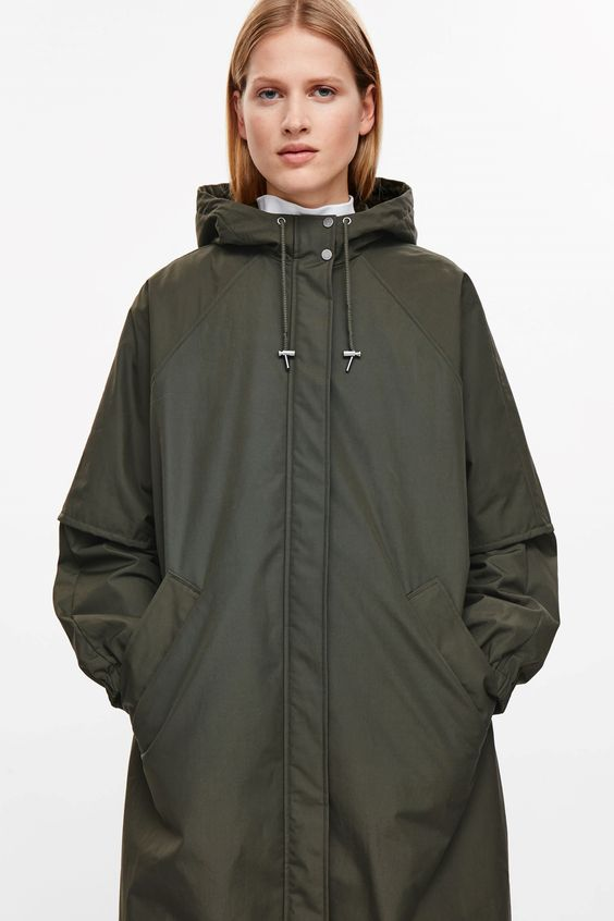 COS image 4 of Oversized cotton parka in Khaki Green