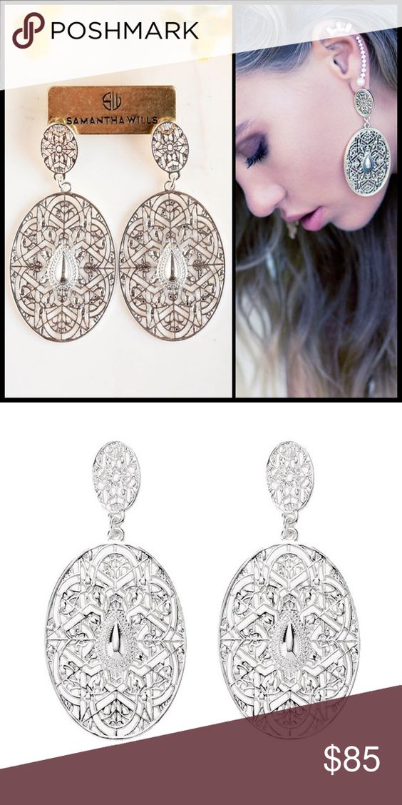 SAMANTHA WILLS 🌙Hunter & Gatherer Grande Earrings Capturing the essence of the huntress, these earrings are a statement fusion of the worldly, daring and feminine. These earrings sure to be an exquisite addition to your summer wardrobe. NWT  - earring length: 80mm earring width: 35mm  - ornate silver filigree drop pendant  - the iconic bardot shape as it's centerpiece  - stud fastening  - nickel free hypo - allergenic titanium Samantha Wills Jewelry Earrings