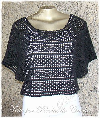 * Pérolas do Crochet: Blusa em crochet Filé preta: