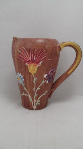 Vtg-Italy-Italian-Art-Pottery-Pitcher-w-Raised-Relief-Applied-Fantasy-Flowers