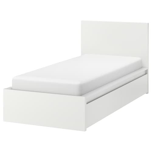 Malm Bed Frame High W 2 Storage Boxes White Stained Oak Veneer