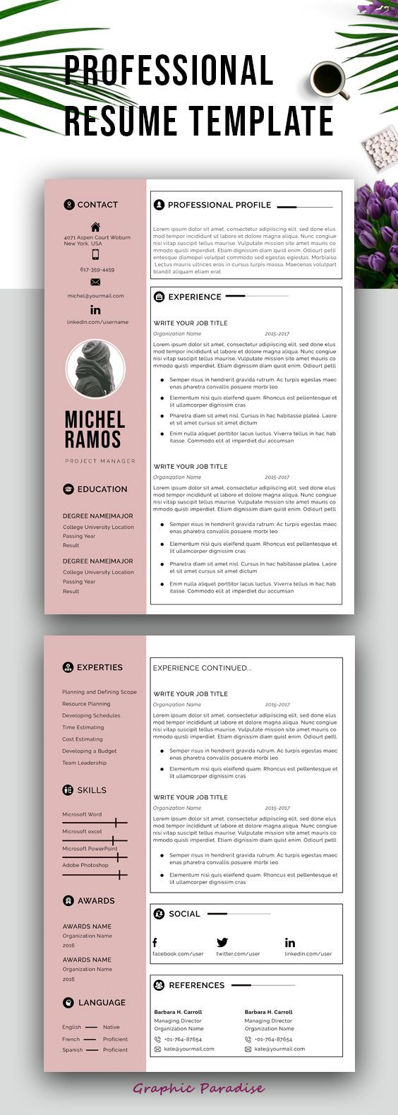 Professional Ms Word Resume Template Instant Download Matching Cover Letter 2 Page Resum Resume Template Professional Resume Template Cover Letter For Resume