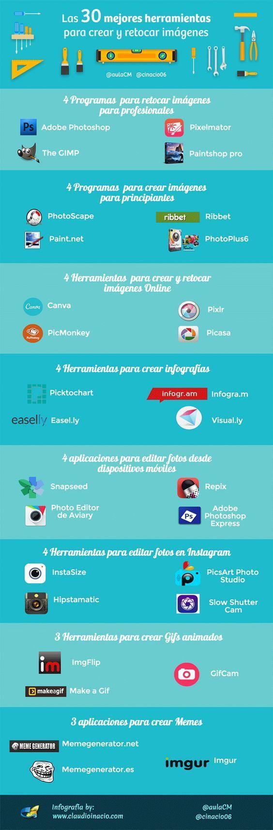 30 herramientas para crear y retocar imágenes #infografia #infographic #design: