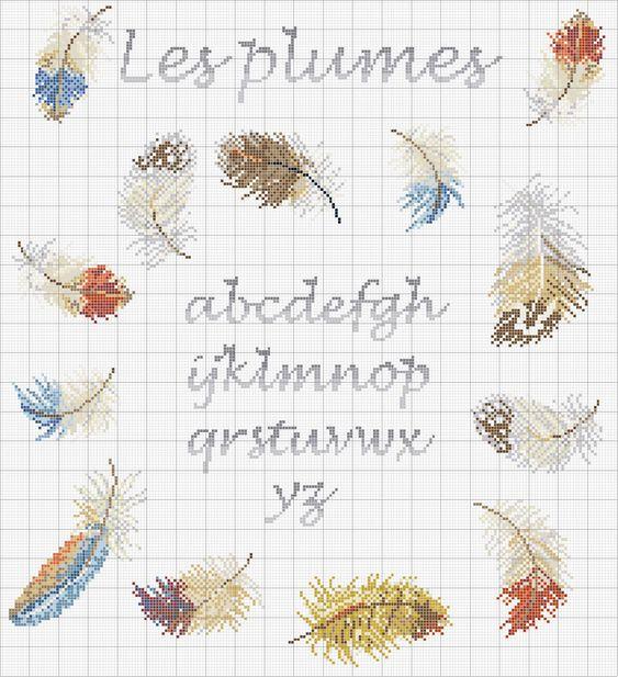 Schema punto croce Le-piume