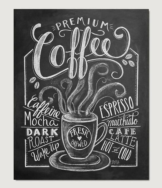 Coffee Love Coffee Art Print Chalkboard Art by LilyandVal