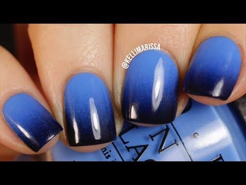 Diy Blue To Black Gradient Nail Art Design Easy Kelli Marissa Gradient Nails Blue Nail Art Designs Sponge Nail Art