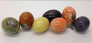 Vintage Collection of 7 Genuine Alabaster Collectible Stone Eggs Beautiful | eBay