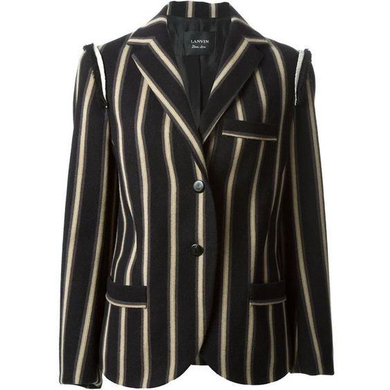 Lanvin striped jacket (¥261,065) ❤ liked on Polyvore featuring outerwear, jackets, blazers, black, lanvin jacket, stripe jacket, lanvin, long sleeve jacket and black striped jacket