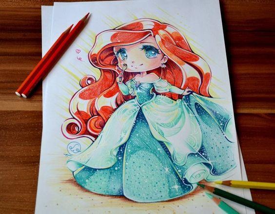 princesas disney tiernas dibujo Lighane-6