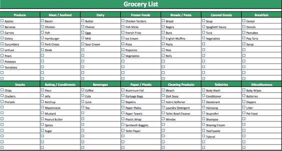generic shopping list