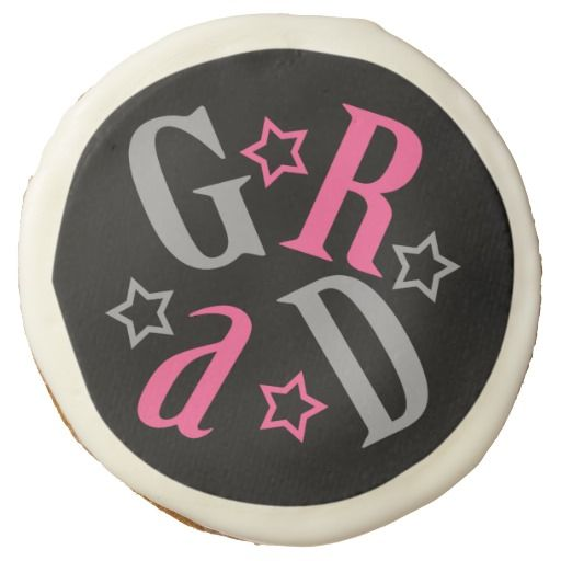 Pink | Gray GRAD Star Graduate Skewed Letters Sugar Cookie #graduation #classof2014 #classof2015 #grads #partyfavors #gifts #shopping