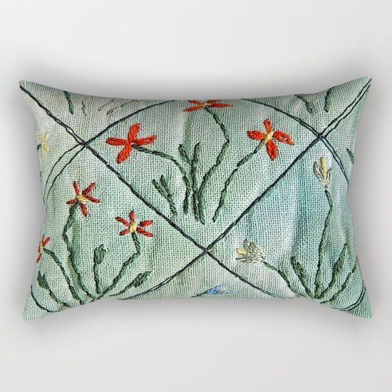 Millefleures in grey green Rectangular Pillow