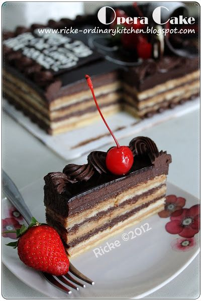 Just My Ordinary Kitchen A Very Late Post Opera Cake On Abi S Birthday June 2012 Makanan Manis Resep Kue Coklat Makanan