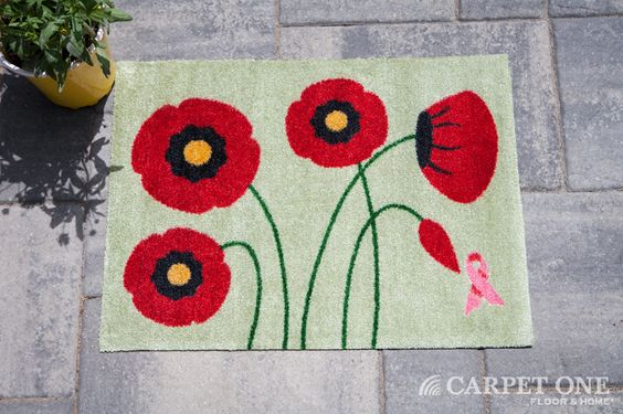 Peaking Poppies | Pink Ribbon Welcome Mats