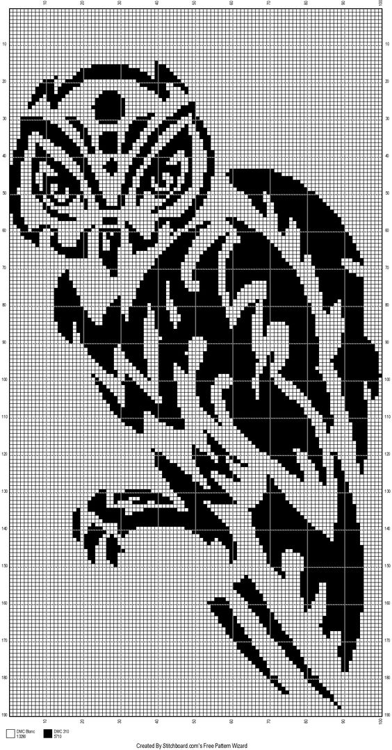owl tribal cross stitch pattern