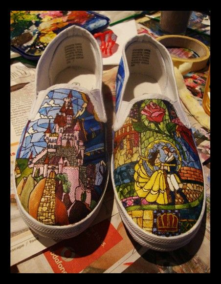 Beauty & The Beast stained glass shoes. OMG! #autism #aspergers #geek