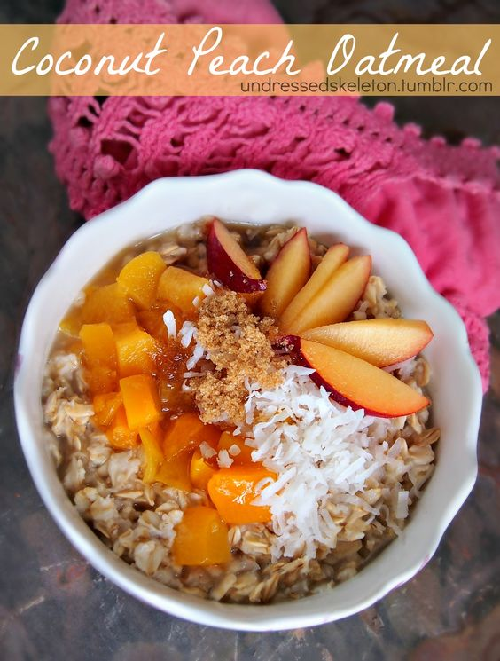 Healthy Coconut Peach Oatmeal. A Quick Breakfast For Busy Mornings.