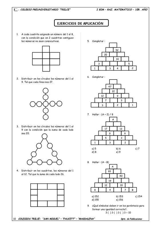 1 Er Ano Guia Nº3 Juegos De Ingenio Ejercicios Matematicos Secundaria Juegos Matematicos Secundaria Ejercicios De Logica Matematica
