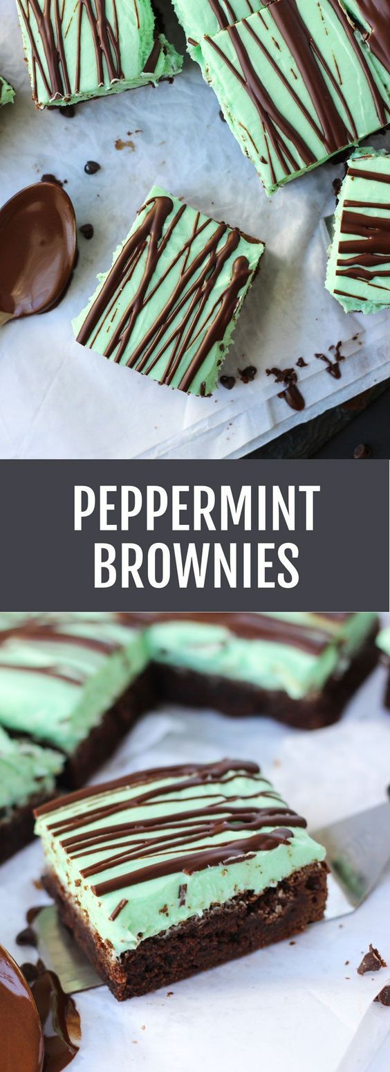 Peppermint Brownies - thick, fudgy brownies with lots of peppermint cream cheese frosting and drizzled with extra chocolate!   Fork in the Kitchen