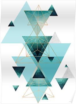 Geometric Triangle Compilation In Teal Aqua And Rose Gold Poster By Urbanepiphany In 2021 Gold Poster Teal Wallpaper Geometric Wallpaper