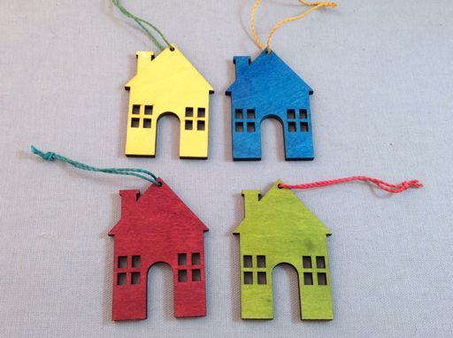 Set of 4 Wooden House Ornament.  Featured in 2014's November issue of HGTV™ magazine.