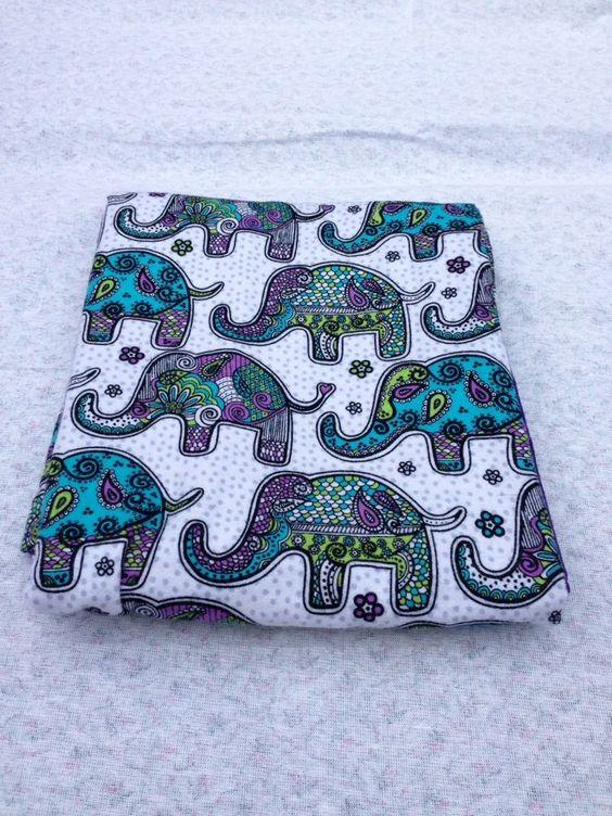 Elephant Baby Receving Swaddling Blanket Double Sided Oversized Handmade #Handmade