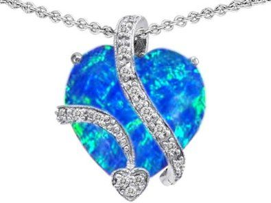 11.40 cttw 925 Sterling Silver silver large 15mm heart shaped lab created blue opal love pendant
