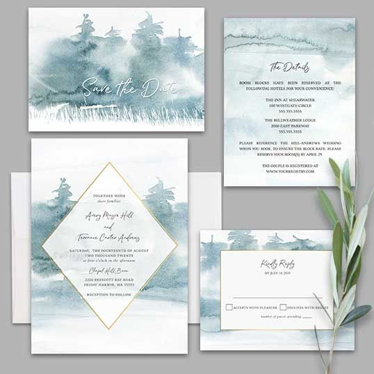 Watercolor Forest Wedding Invitation In Pale Blue Geometric Frame Forest Wedding Invitations Woodland Wedding Invitations Painted Wedding Invitation