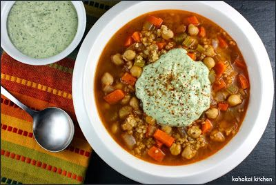 Kahakai Kitchen: Ottolenghi's Spicy Chickpea and Freekeh Soup with Herby Creamed Feta Paste: Warm and Spicy Goodness for Souper (Soup, Salad & Sammie) Sundays