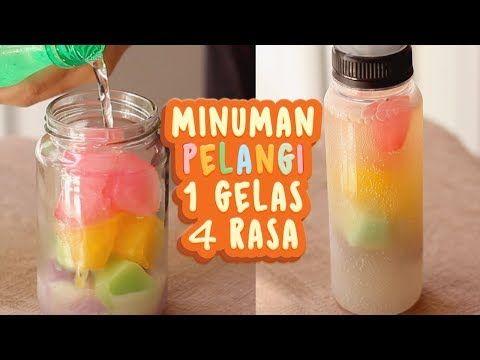 Cara Membuat Minuman Es Pelangi 1 Gelas 4 Rasa Rainbow Cube Youtube Resep Minuman Resep Minuman