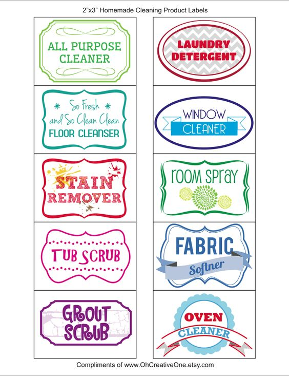 OHCREATIVEONE Your One Stop Printable DIY Shop- FREE Household Cleaning Product Labels!  Scroll down the bottom of the post to download.