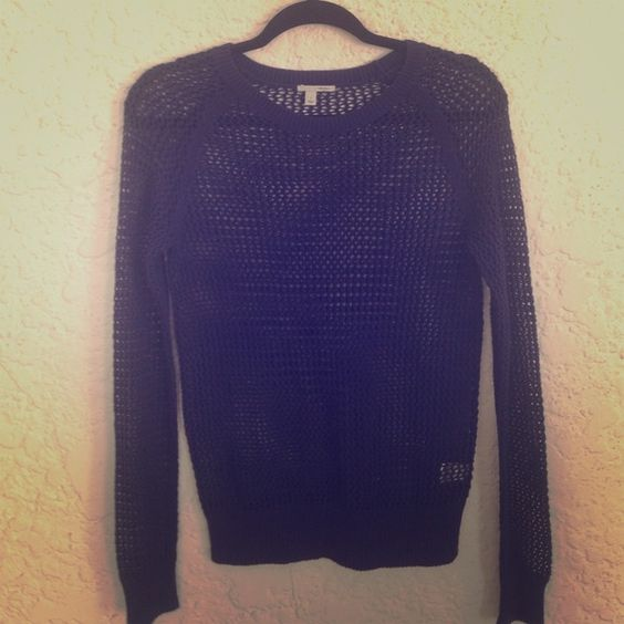 "Halogen open knit sweater From Nordstroms. Rich navy blue. Cotton/acrylic. Perfect for layering with a white tank top. No condition issues. Armpit to bottom hem is about 17.5"". Halogen Sweaters Crew & Scoop Necks"