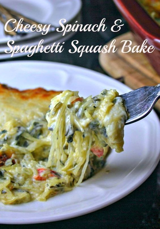 Creamy Spinach & Spaghetti Squash Bake | Life, Love, and Good Food #recipe #dinner