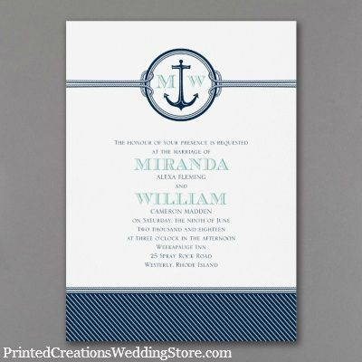 Nautical Romance Invitation sets the tone for your nautical wedding with its rope, anchor and stripe wedding invitation design - www.PrintedCreationsWeddingStore.com.    #nauticalweddinginvitations  #nauticalwedding