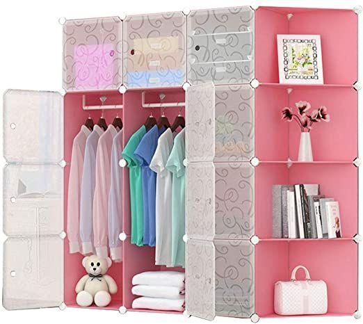 Simple Wardrobe Large Capacity Resin Wardrobe Baby Cartoon Assembly Storage Cabinet Folding Wardrobe Color In 2020 Folding Wardrobe Simple Wardrobe Wardrobe Storage