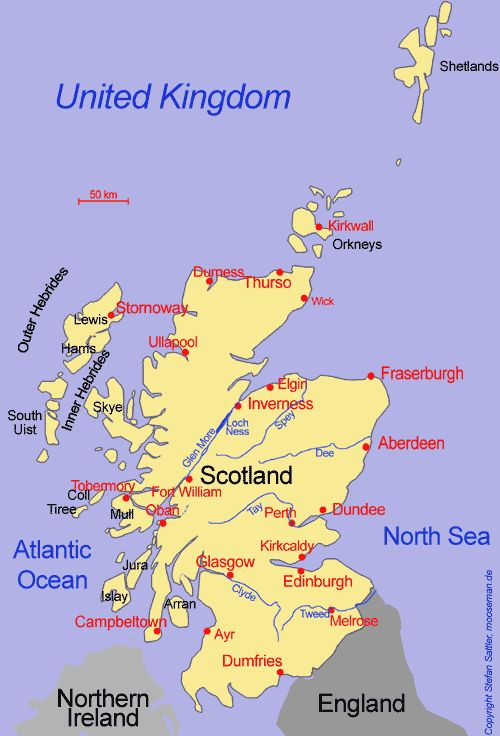 Map of Scotland showing major cities – Scotland Travel Map