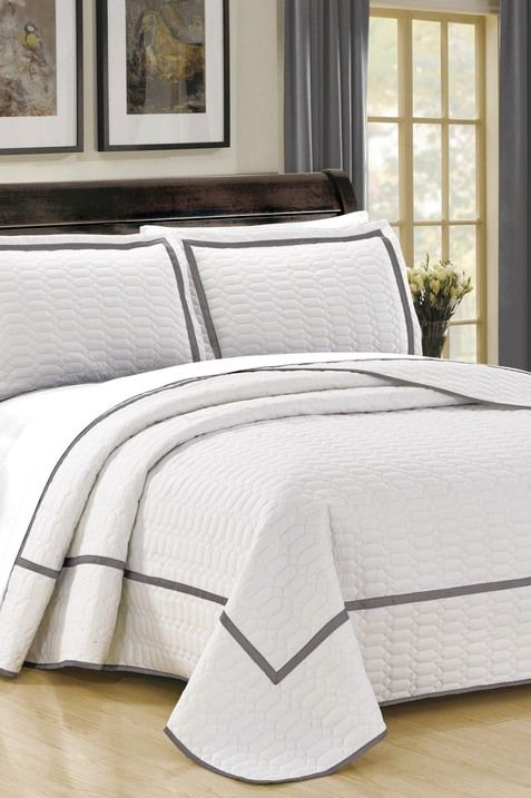 King Halrowe Hotel Collection Geometric Quilt Set White Quilt Sets Bed Cover Design Hotel Collection