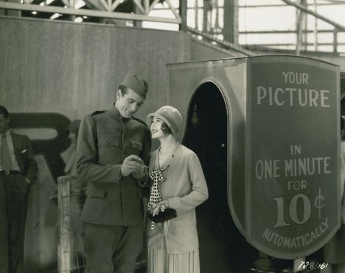 Photo booth from 1928's The Shopworn Angel, starring Gary Cooper and Nancy Caroll.