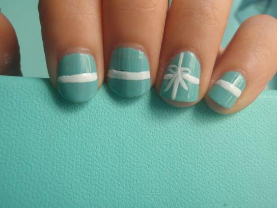 Tiffany box nails...maybe for my cousin's Tiffany's shower